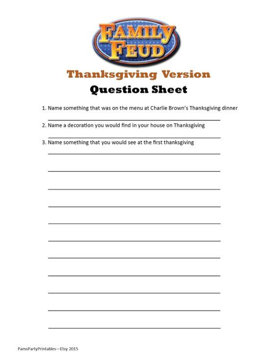 photo about Family Feud Printable called Thanksgiving Household Feud - Printable Sport - Thanksgiving