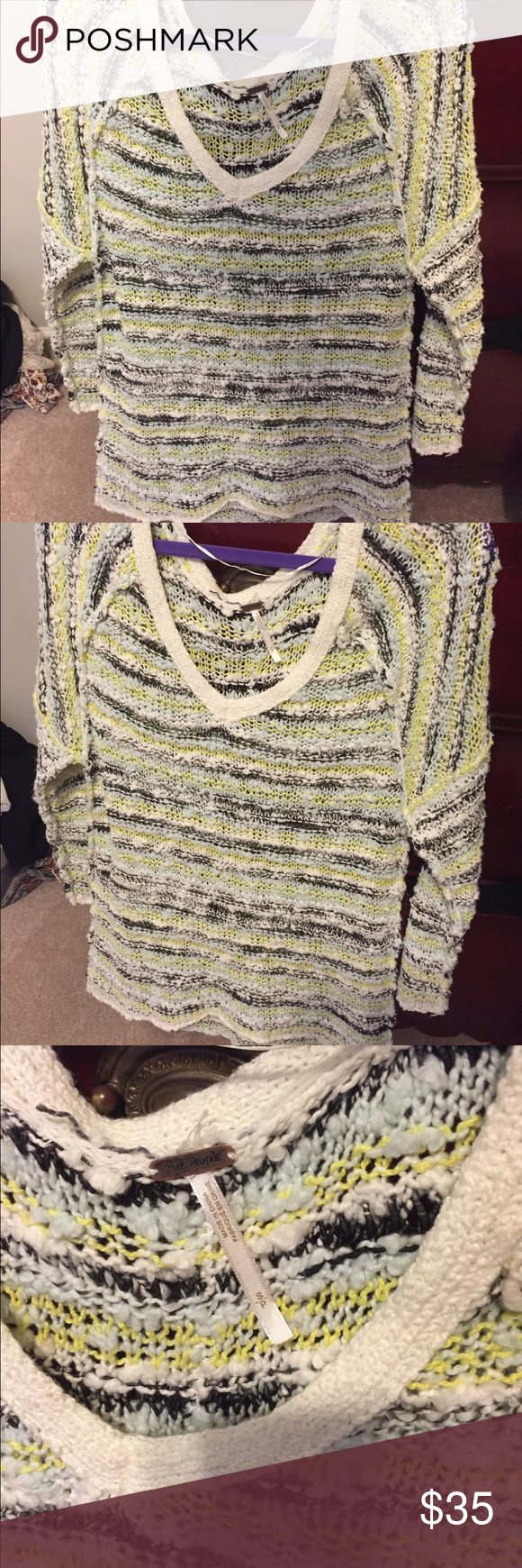Free people knit sweater Probably the most comfortable thing I've worn. stretchy and soft and cute colors. Great condition Free People Tops