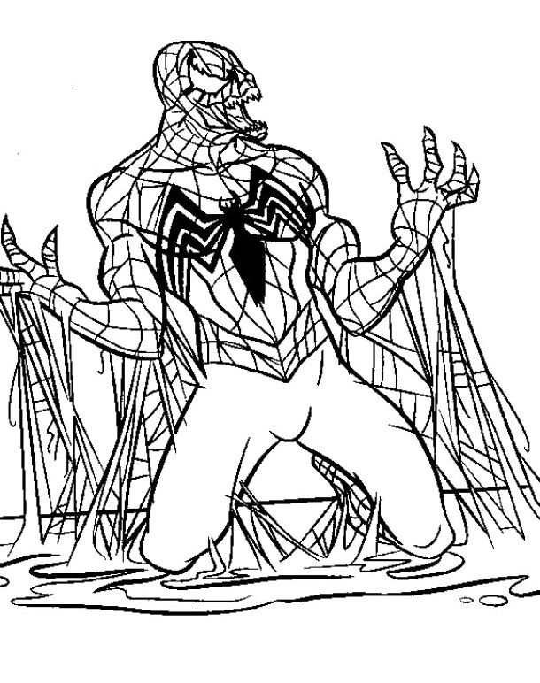 The Evil Black Spiderman Coloring Pages | just color