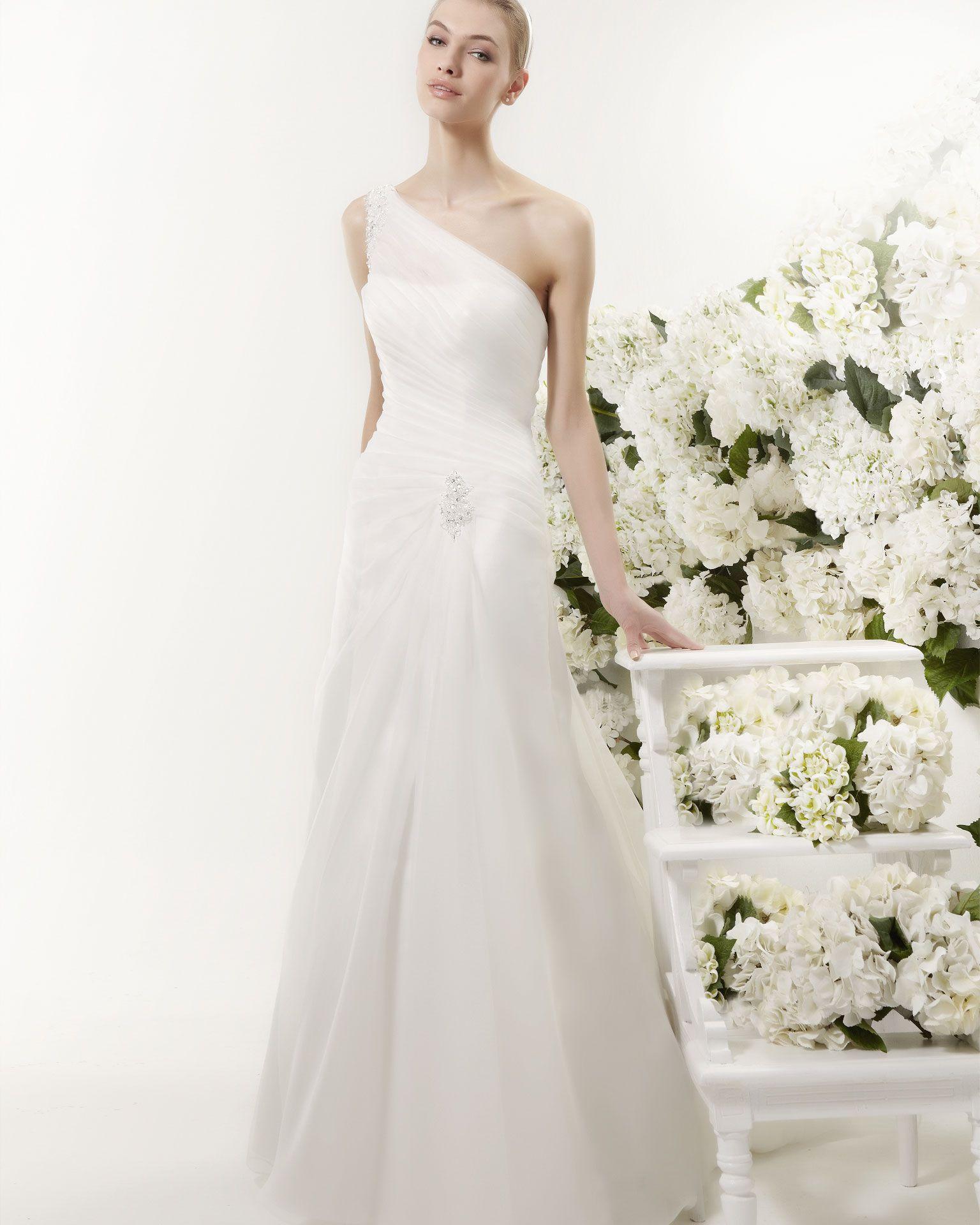Simple wedding dresses cheap  Simple Aline One Shoulder Beading Ruching Floorlength Organza