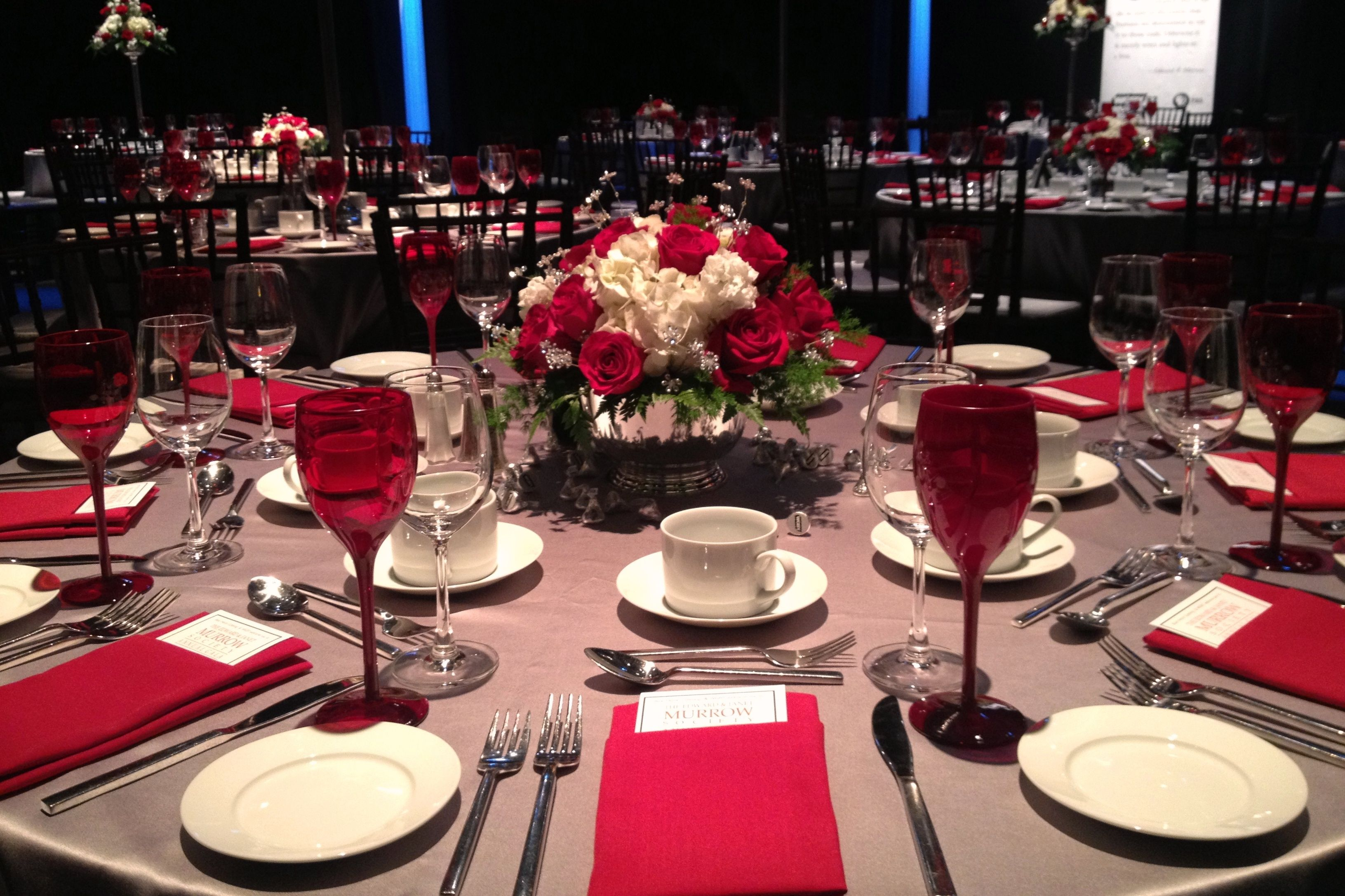 Red, white and silver party decor  Blue Heron Catering   Western ...