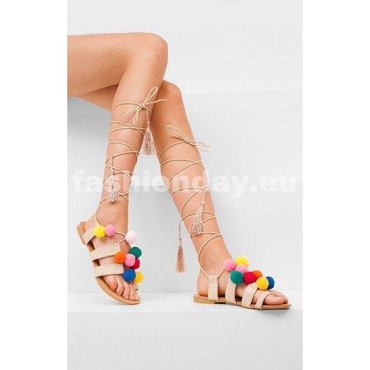 9ca5f6f9fd9e Letne béžové sandále pre dámy s ozdobou - fashionday.eu