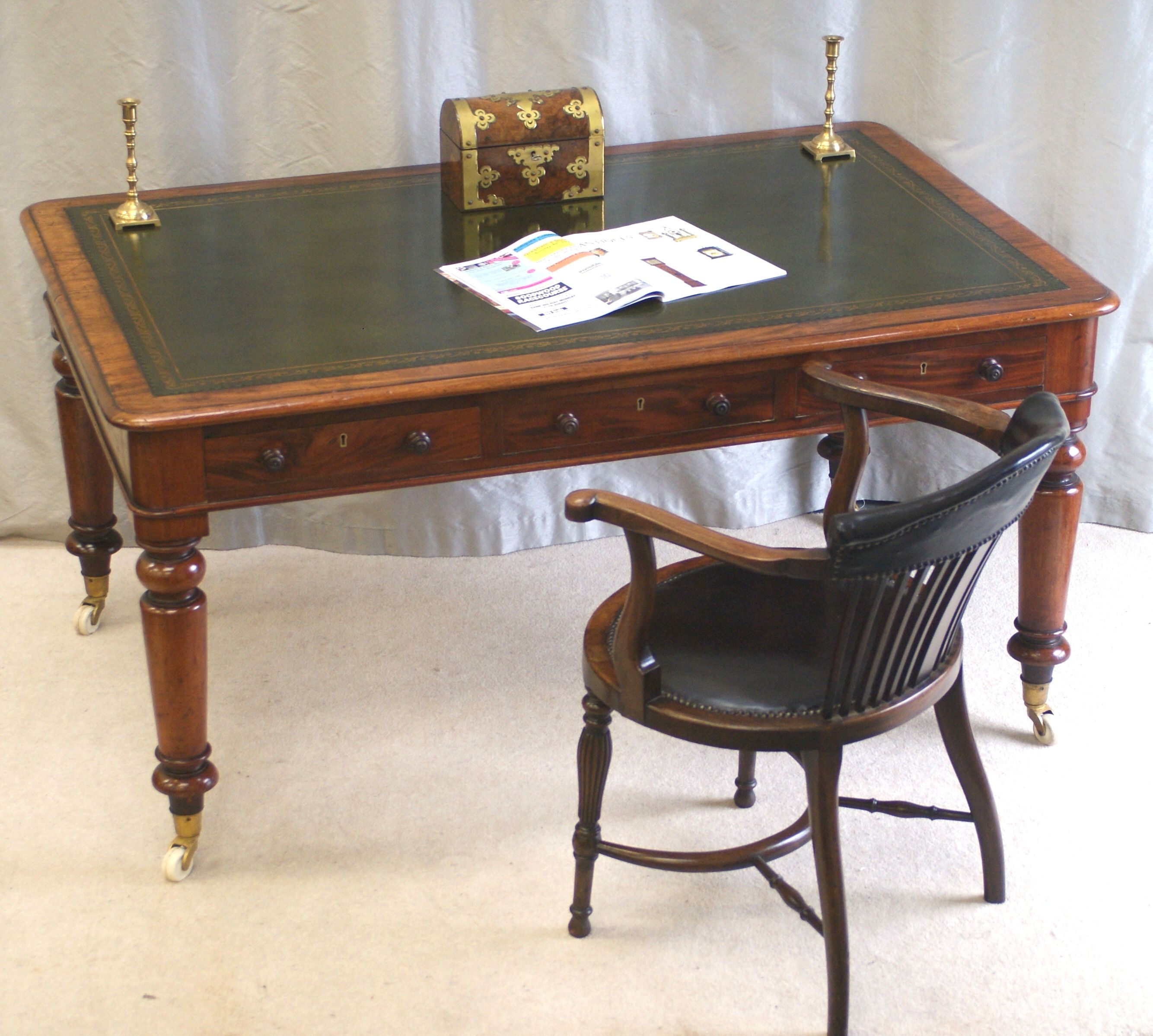 Drawer Antique Desk Chair Writing