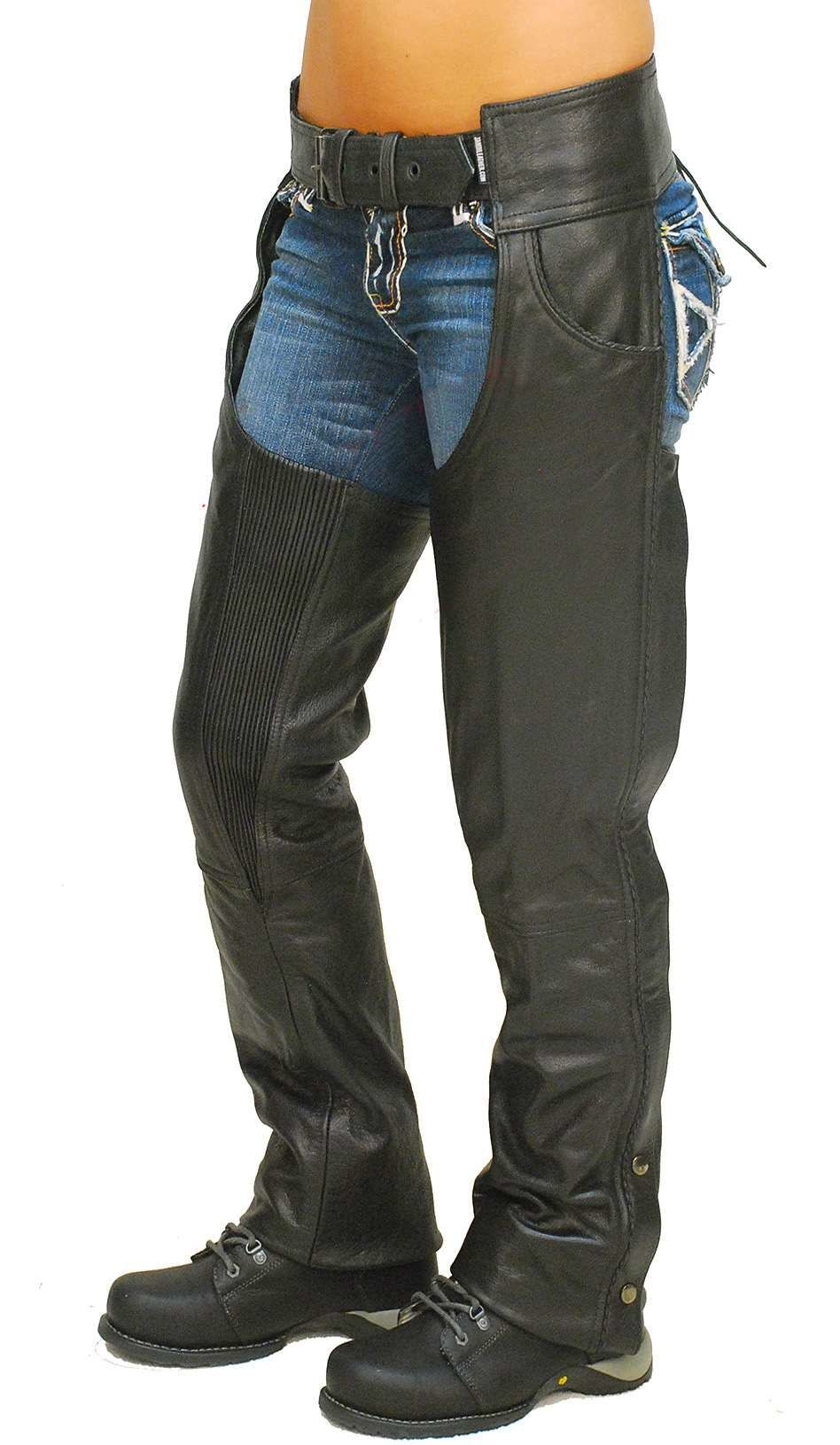 Milwaukee Leather Mens Vented Leather Chaps w/ Reflective