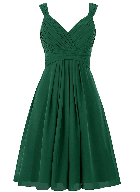 Ellagowns womenus v neck chiffon bridesmaid dress short prom gown at