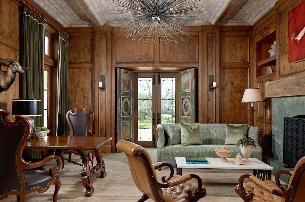 charming elegance in strong wood accent Living Room Pinterest