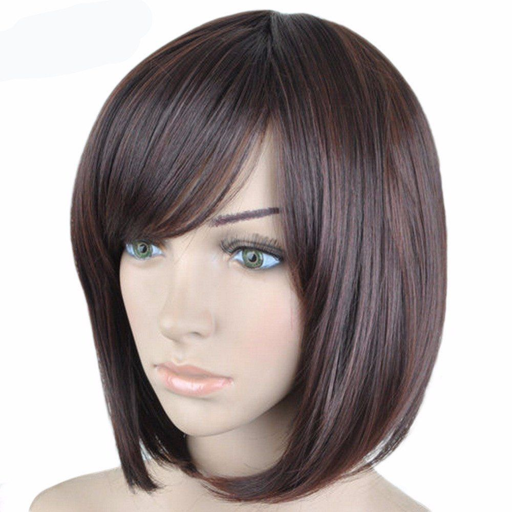 Brown medium length straight synthetic hair wig hair pinterest