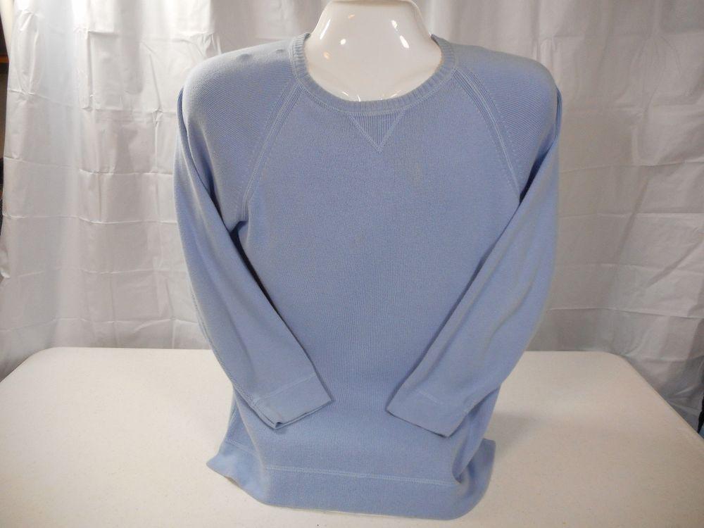 Eddie Bauer Light Blue 100% Cotton Crew Neck Sweater Size L Tall EUC #EddieBauer #Crewneck