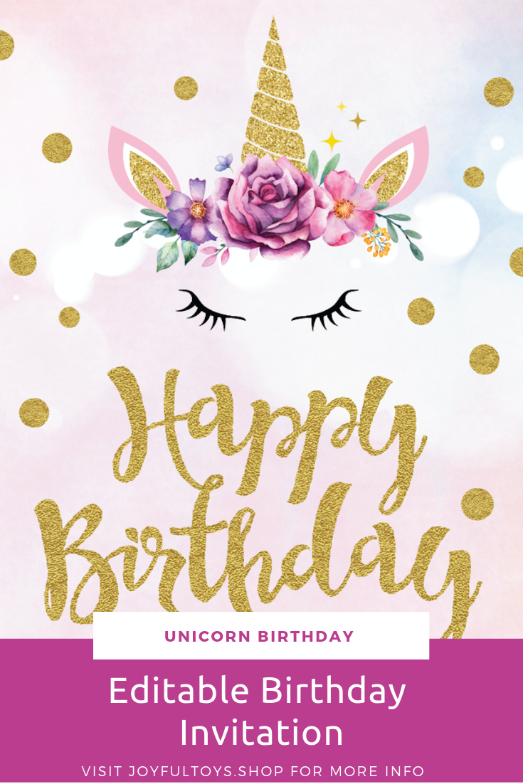 Completely Editable And Printable Invitation Perfect For Unicorn Party Available On Amazon