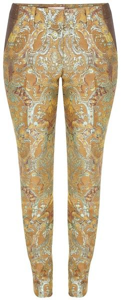 Panelled Brocade Cigarette Pant - Lyst #Fashion #Print #Gold