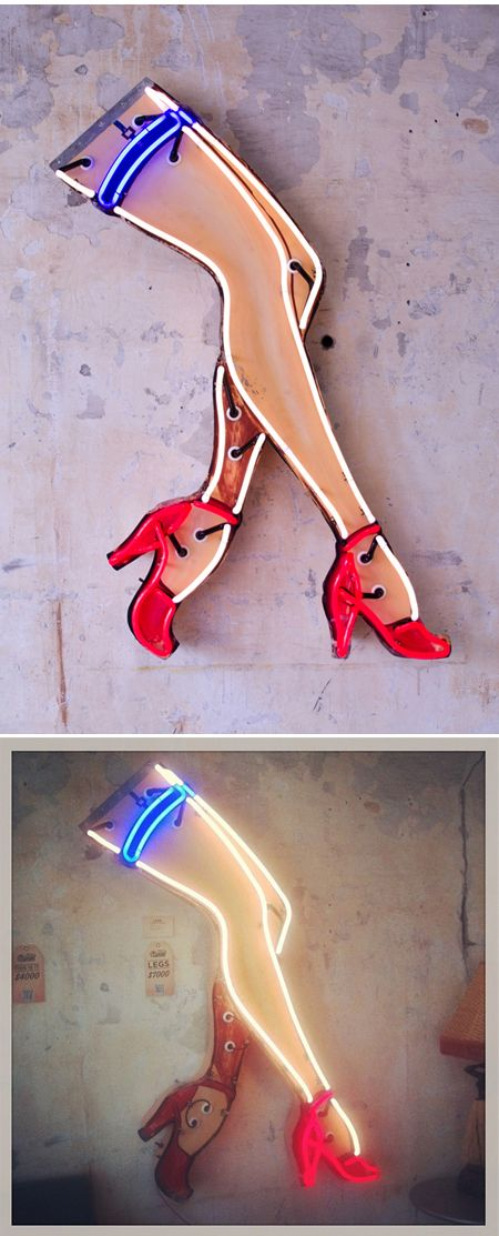 """Not vintage, but """"retro"""", Todd Sanders makes neon lights in  the style of Roadhouse Relics."""