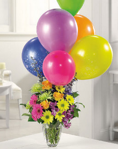 Birthday balloons and flowers photograph of