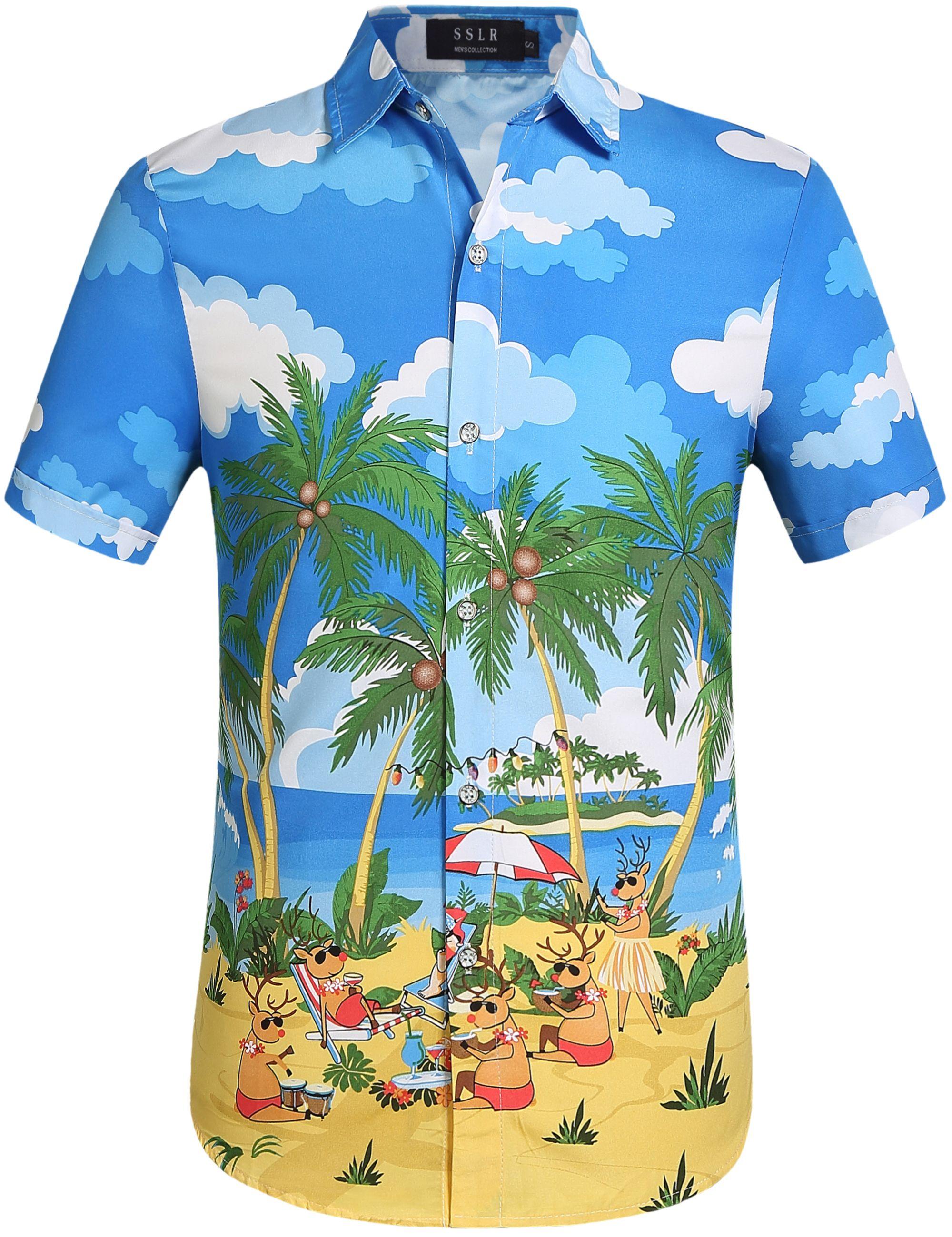 347a7c89 SSLR Men's Xmas Holiday Button Down Ugly Hawaiian Christmas Shirts, Tropical  Party Hawaiian Christmas Shirts #christmas #tropical #Xmas #holiday#party #  ...