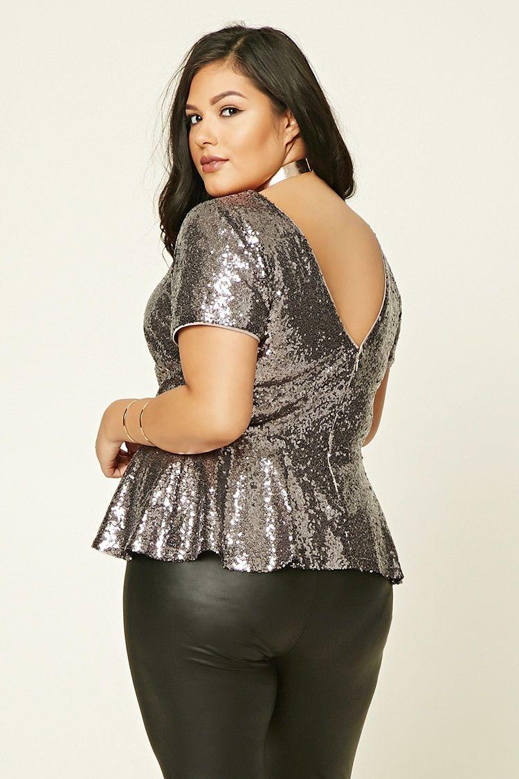 Plus Size Sequin Peplum Top | Forever 21 PLUS - 2000232314 ...