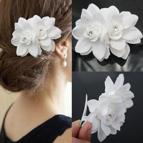 New Arrival Beauty Women S Bridal Wedding Orchid Flower Hair Clip Hairpins Barrette Br Flower Hair Clips Wedding Bridal Hair Accessories Bridal Wedding Flowers