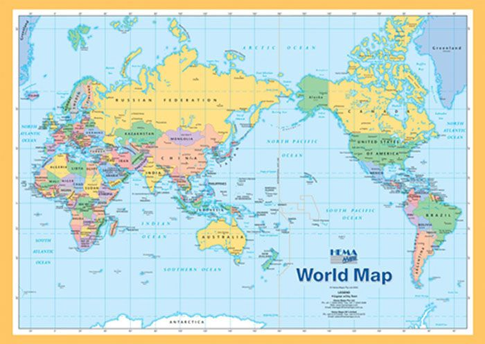 free printable world map a4 size World Map A4 Hema Maps Books - best of world map poster time zones