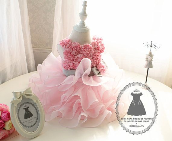 9653f6b08a Handmade Pink Flower Lace Top Baby TuTu Dress Toddlers by PLdress
