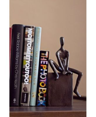Danya B Bookend Set With Man And Woman Sitting On A Block Brown Danya B Shelf Decor Decorative Bookends
