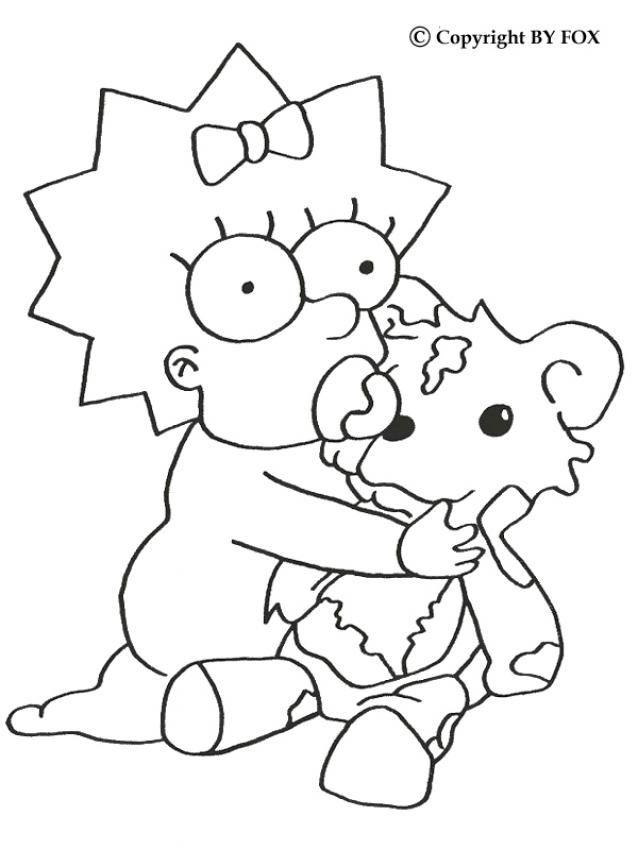 The Simpsons Coloring Pages Maggie And Her Teddy Bear Cartoon Coloring Pages Bear Coloring Pages Teddy Bear Coloring Pages