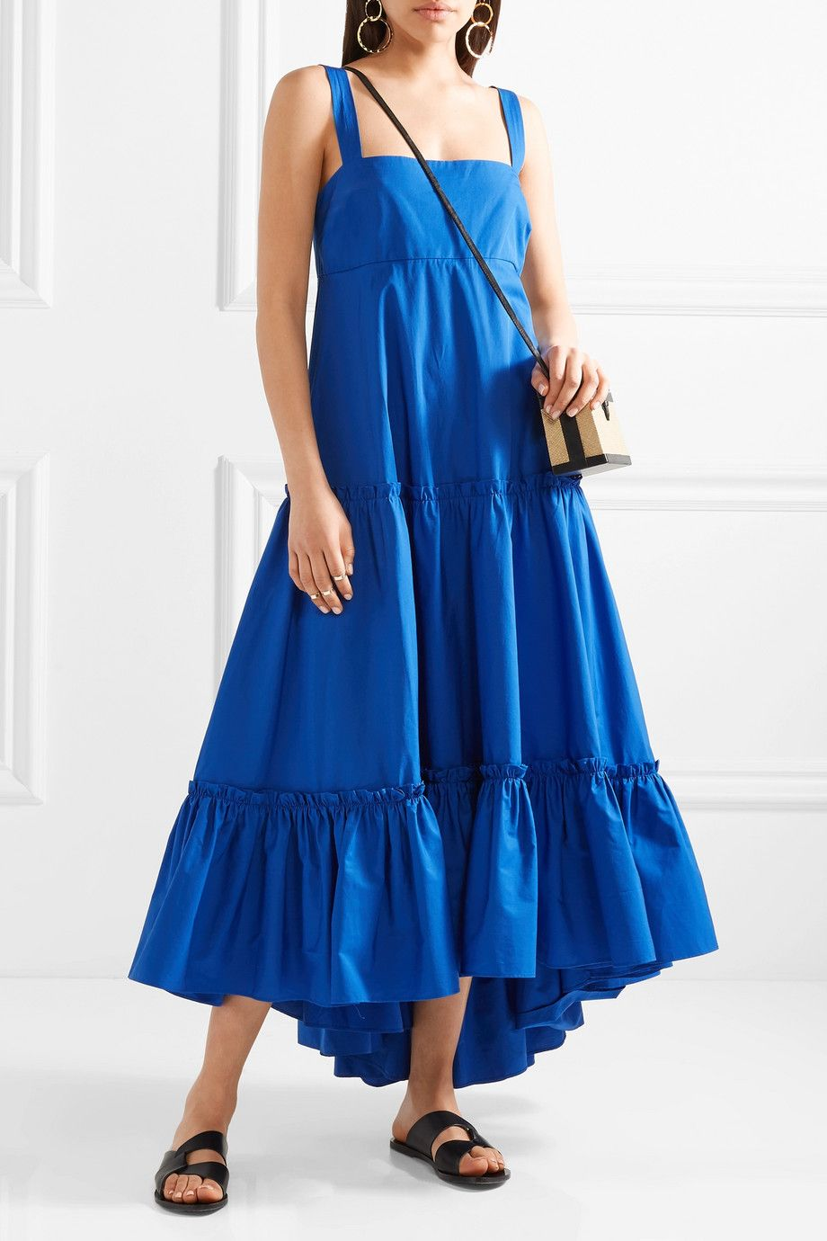 Tiered Cotton-poplin Midi Dress - Cobalt blue MDS Stripes Cheap Sale Manchester Great Sale Clearance Fake Best Place Online Sale Low Price 2bzsf