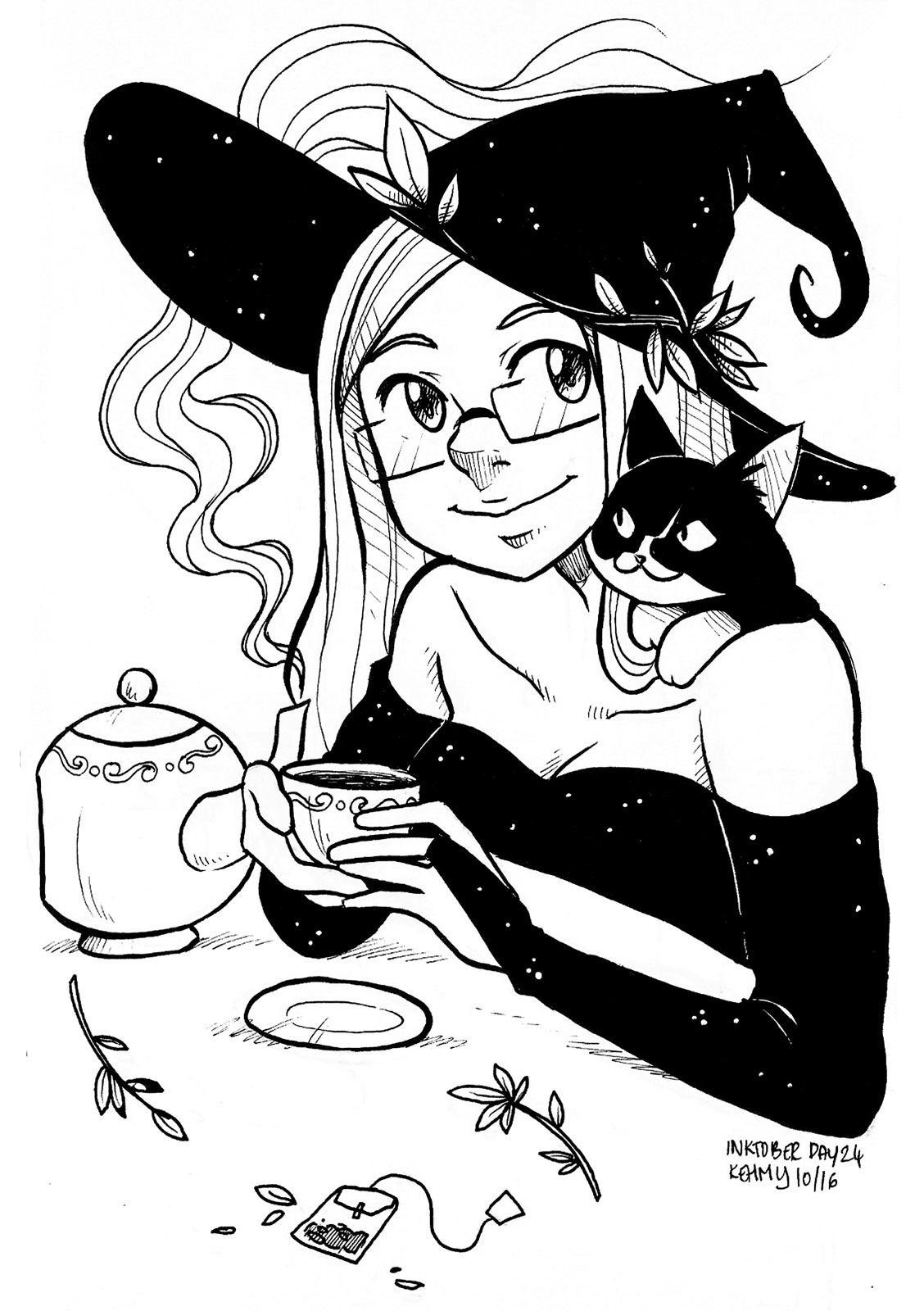 Inktober - Day 23 - Tea Witch (feat. Sokie)  Witch art, Witch
