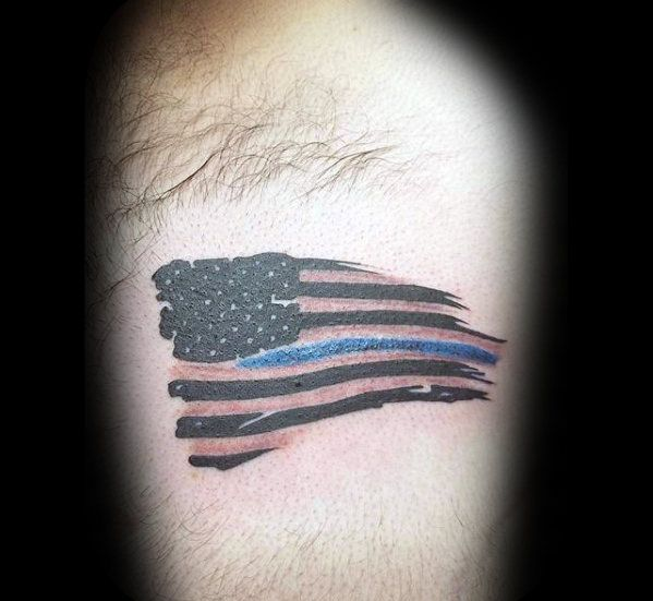 50 Thin Blue Line Tattoo Designs For Men Symbolic Ink Ideas