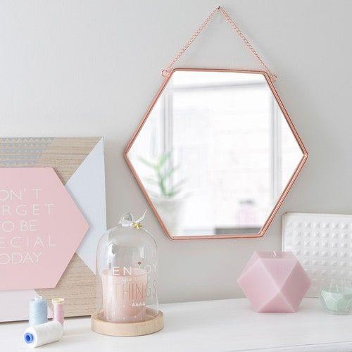 Spiegel HEXAGONAL COPPER aus Metall, H 31 cm, kupferfarben rose