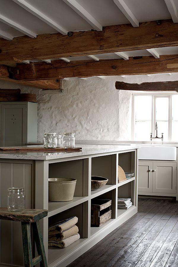 wood + white + marble-top island + open storage + modern rustic