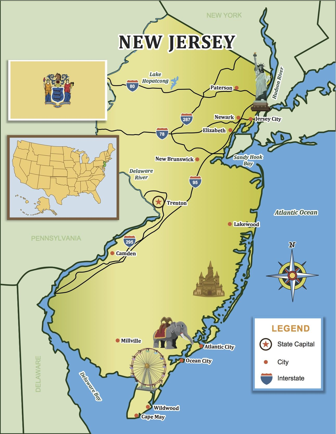 Travel Down The Jersey Coast With Our State Map Little Passports Littlepassports Newjersey Newjerseymap Lake Hopatcong New Jersey Jersey City