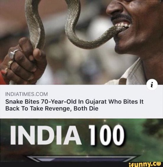 INDATIMESCOM Snake Bites 70-Year-0Id In Gujarat Who Bites It Back To Take Revenge Both Die INDIA 100  popular memes on the site iFunny.co #it #movies #indatimescom #bites #year #in #gujarat #who #it #to #take #revenge #die #india #pic #popularquotes #popular #quotes #humor