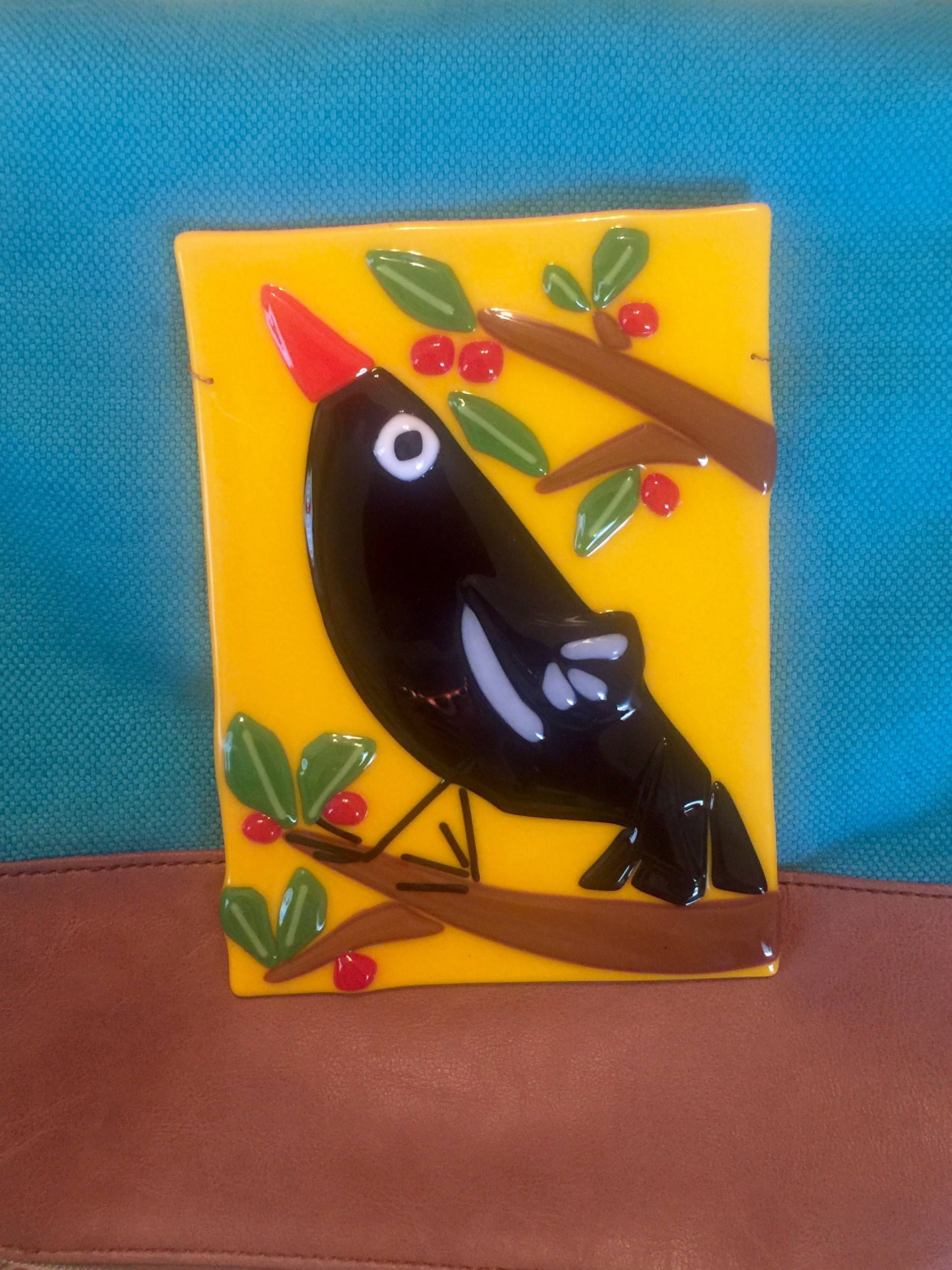 Blackbird Crow Bird cherry tree Fused Glass Wall Hanging Plaque ...