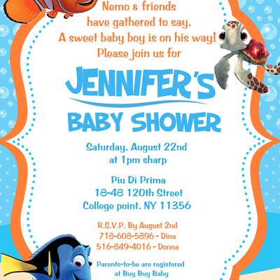 Finding Nemo Baby Shower Invitation Baby Room In 2018 Pinterest
