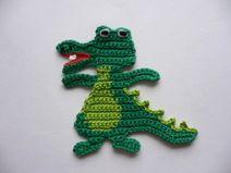Krokodil - Häkelapplikation #crochetdinosaurpatterns