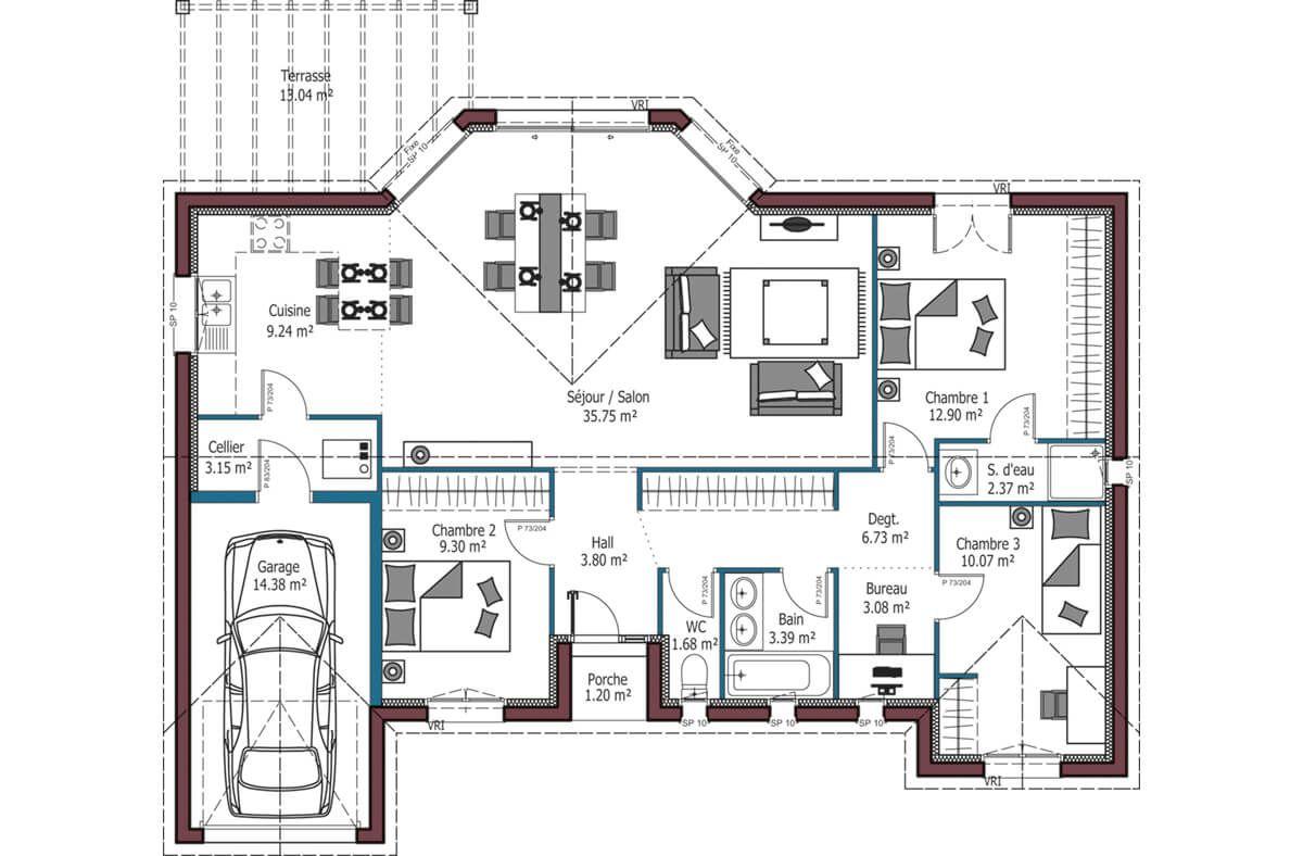Mod le eos plan maison plain pied avec 3 chambres et garage maison plain pied - Mca maisons de la cote atlantique ...