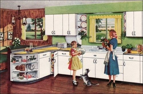 1950 Kitchen Design 1951 kitchen design illustration. | 1950s | pinterest | kitchens