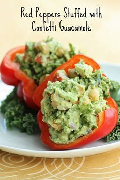Red peppers stuffed with confetti guacamole raw vegan clean and red peppers stuffed with confetti guacamole raw vegan clean and healthy forumfinder Gallery