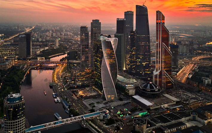 Download wallpapers Moscow City, sunset, modern buildings, cityscapes, Russia, skyscrapers, Moscow