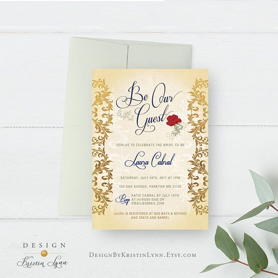 Be Our Guest Bridal Shower Invitation Beauty and the Beast Wedding - fresh formal invitation to judges