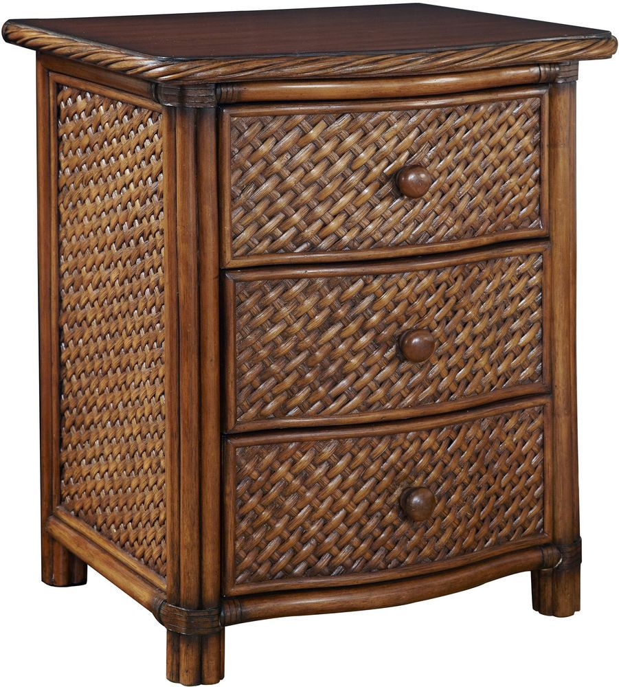 Bedside drawer night stand rattan wicker veneer solid wood for Wood nightstand with drawers