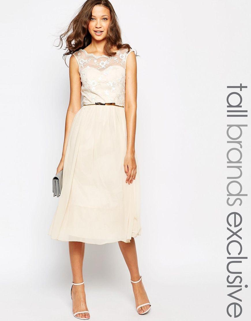 622117903313 Little Mistress Tall Bardot Midi Prom Dress With Floral Lace Bust ...