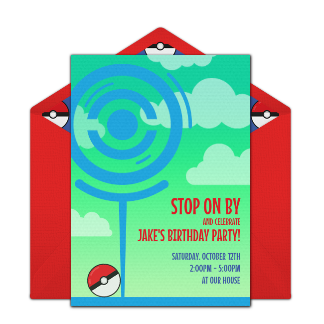 Customizable Free Trainer Stop Online Invitations Easy To Personalize And Send For A Pokmon Party Punchbowl