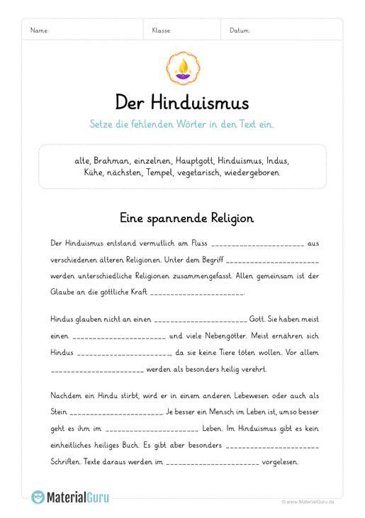 ein kostenloses arbeitsblatt zum thema hinduismus auf dem die sch ler einen l ckentext zum. Black Bedroom Furniture Sets. Home Design Ideas