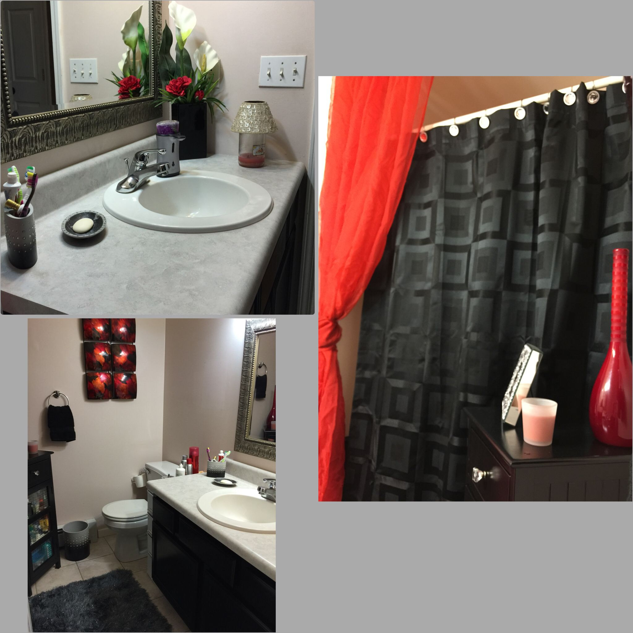 Updated the bathroom by painting the cabinets black and a pop of red