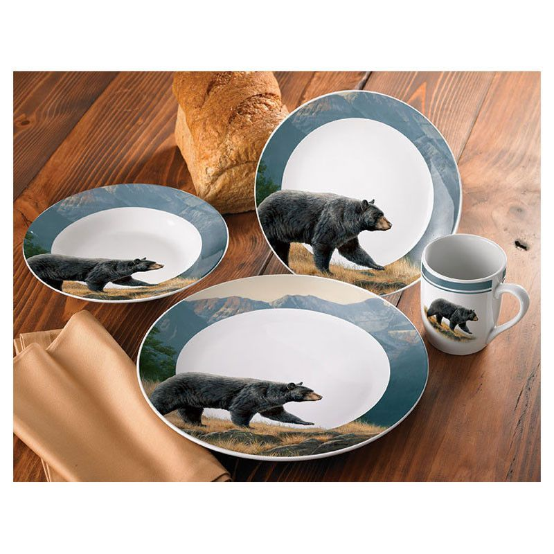 Ridgeline Black Bear Dinnerware Set - 16 pcs - SALE - Black bear and mountain images decorate this porcelain dinnerware. Sixteen piece set includes four ...  sc 1 st  Pinterest & Wild Wings Ridgeline Bears 16 Pc Dinnerware Set 8955207501 | Buffalo ...