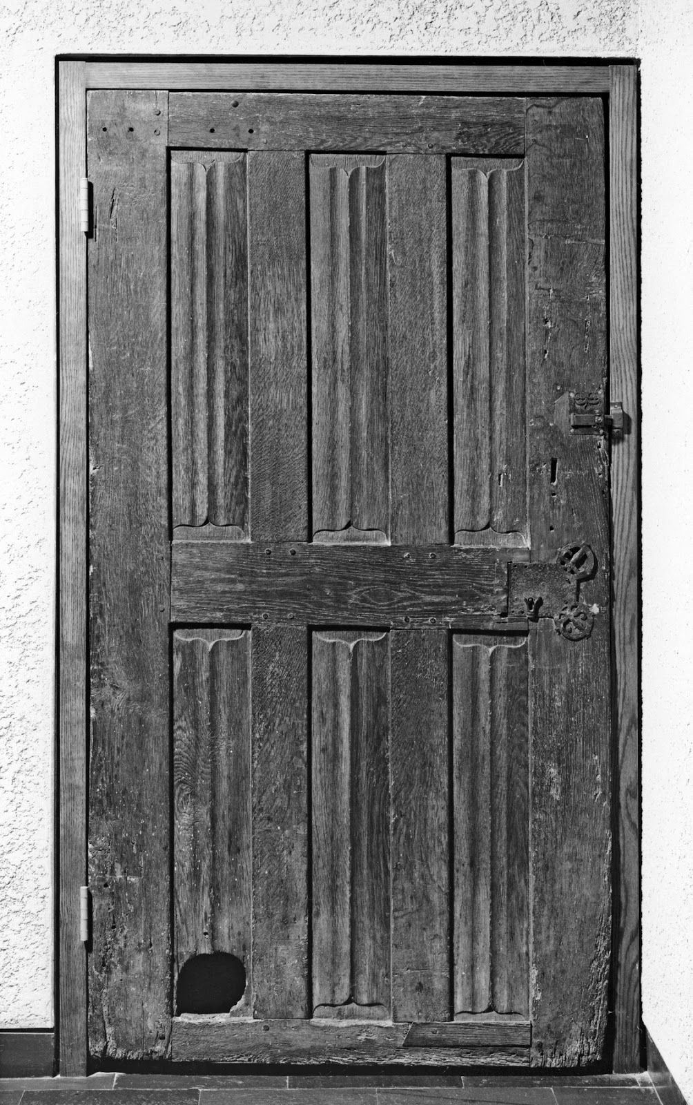 15th Century French Door With A Cat Door Cut Into It Public Domain