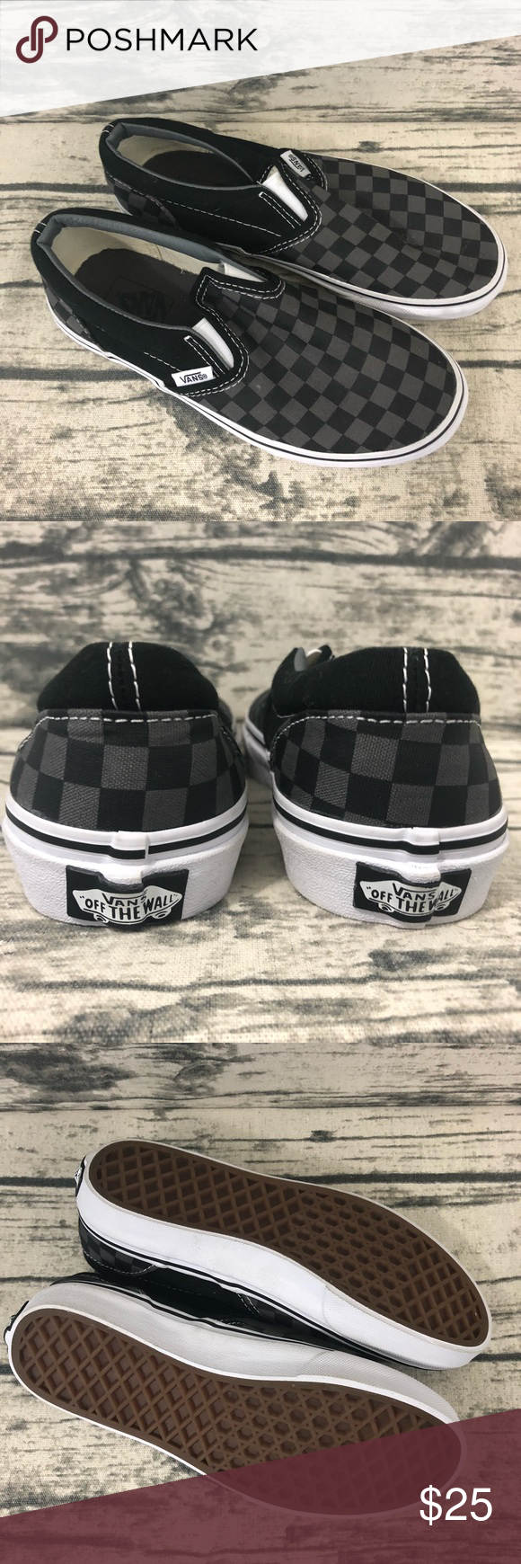 63a08c6ed21 Vans Youth Black   Gray Checkered Slip On Shoes 3 ▫️Please see photos for  item details. ▫️All items are pre-loved unless otherwise noted.