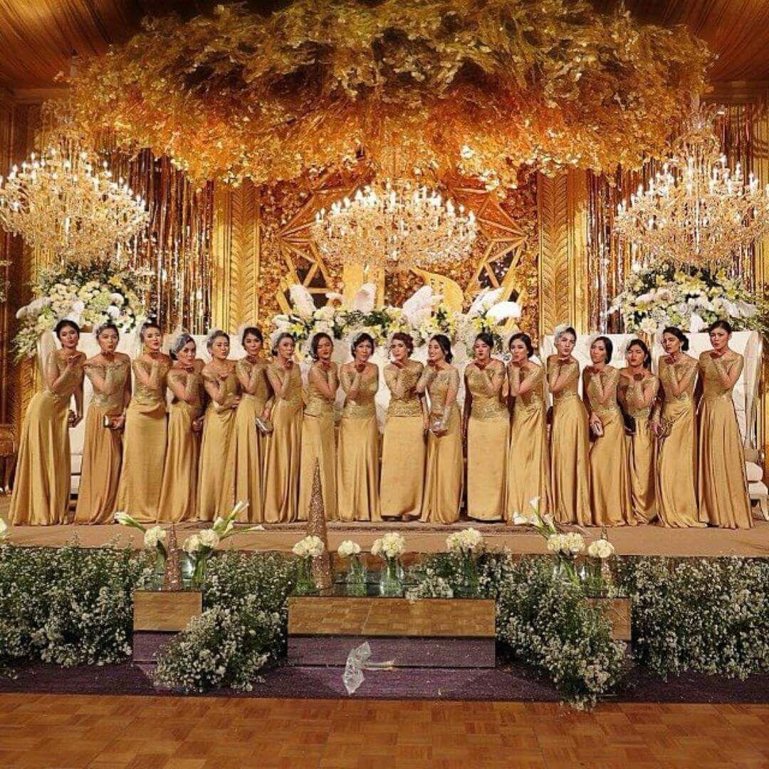 Model Kebaya Seragam Warna Emas Trend 10 Pernikahan Acara