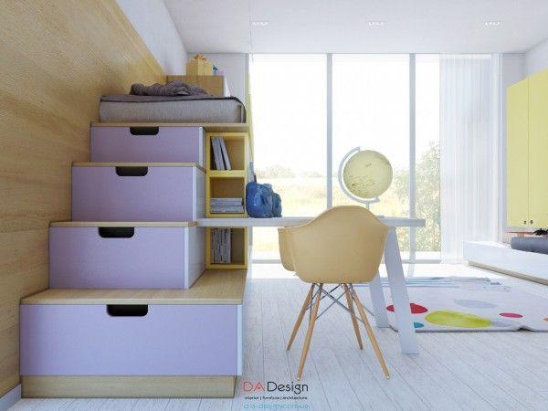 Kết hợp kệ sách cùng những bậc thang màu tím hoa cà dẫn lên phòng ngủ nhỏ nhắn, xinh xắn cho bé