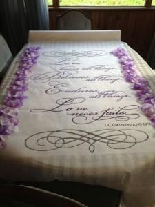 Diy Aisle Runner Wedding Ceremony Flower Petals Purple Quote Silver White Photo Sep 14 11 42 03 Am