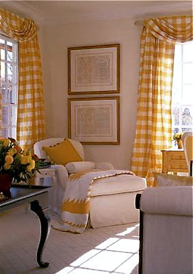 I Love The Yellow Checked Draperies I D Like To See The Rest Of The Room With Images Home Decor Home Gingham Curtains